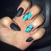 black matte and turquoise nail