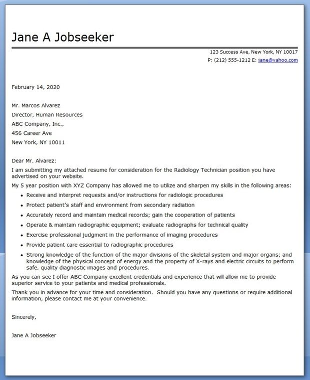 Cover Letter Radiology Administrator