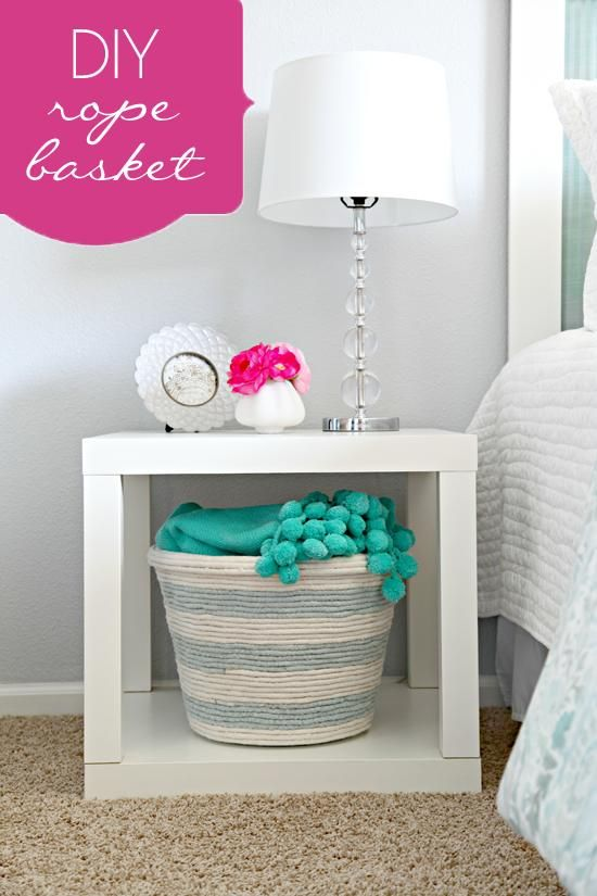 DIY Home Decor: DIY Rope Basket. I need this cause I always have blankets that I don't feel like folding!