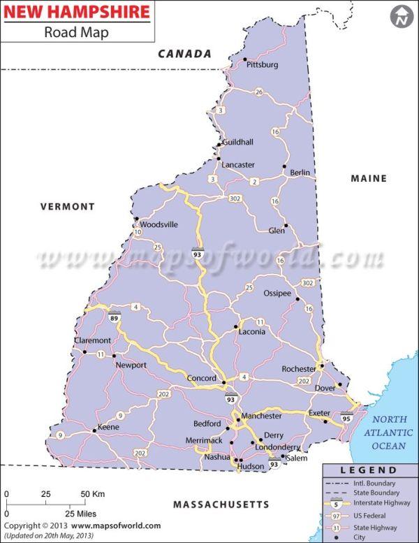 New Hampshire Road Map httpwwwmapsofworldcom