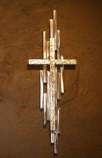 Abstract Metal Cross Sculpture Wall Art Gold Silver ...