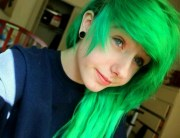bright green hair. emo hair