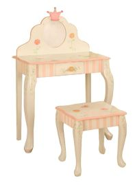 Teamson - Little Girls Vanity Table and Chair Set - Crown ...