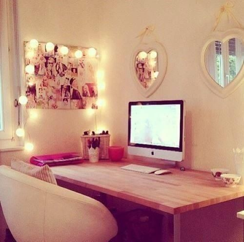 Another neat desk idea. Love the lighting