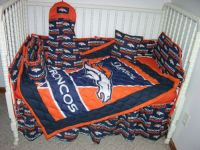 Crib nursery bedding set made/w denver broncos *double batting