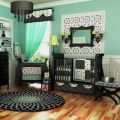 Mint green and black themed baby room knotts babies pinterest