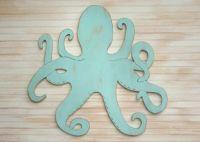 """Large Wooden Octopus Art Nautical Decor Beach Wall Art 33"""" W"""