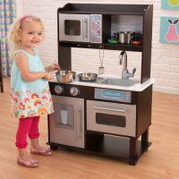KidKraft Espresso Toddler Play Kitchen with Metal ...