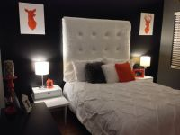 black accent wall, colorful accents   bedroom   Pinterest
