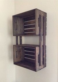SALE Brown Wooden Crate Hanging 3 Shelf Wall Fixture ...