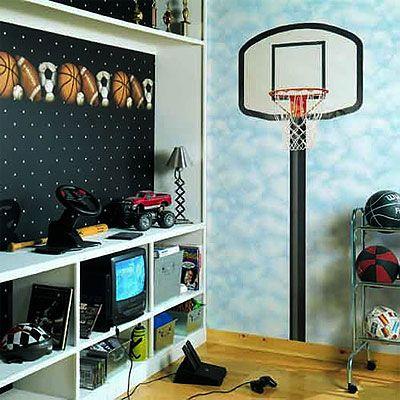 Basketball hoop wall mural  Sports Bedroom  Pinterest