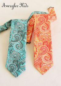 Boys Necktie, Orange and Yellow Paisley Neck tie, Blue and ...