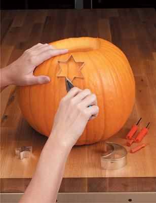 use cookie cutters for pumpkin carving
