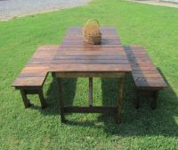 3 Piece Picnic Table and Benches, Indoor or Outdoor ...