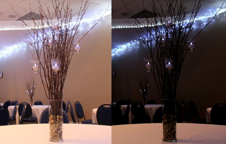 Easy, beautiful centerpieces. All you need is vases, pea gravel (or any stones really), tree branches (these are birch), hanging votive holders, and candles (these are led candles).