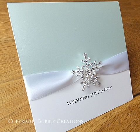 Personalised Winter Snowflake Wedding Invitation with Crystal Snowflake and Satin ribbon