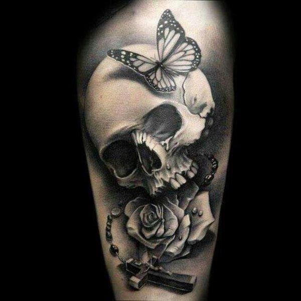 pretty cool skull tattoo dana