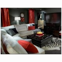 Red black and gray living room | Living Room | Pinterest