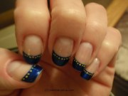 navy blue tips with yellow dots
