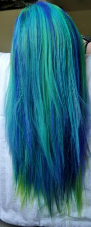 peacock blue and green hair