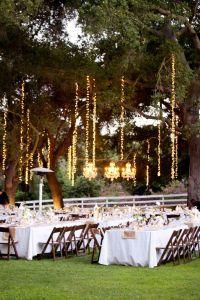 Outdoor string lighting in trees.   wedding inspiration ...