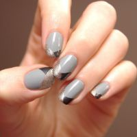 grey black and gold | Nails | Pinterest