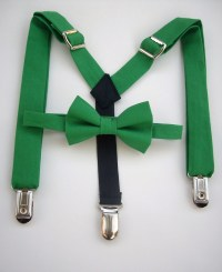bow tie and suspenders for toddler boy - solid green
