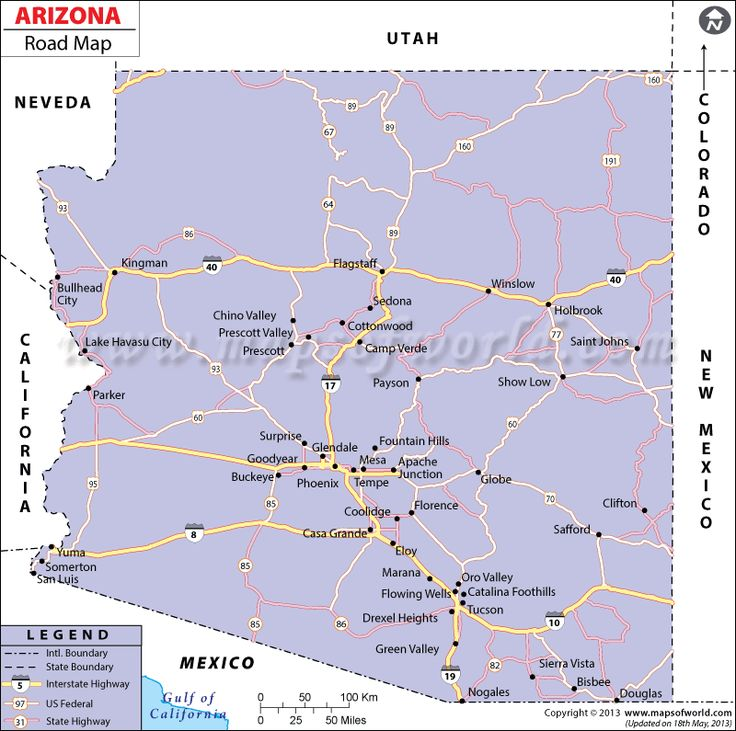Arizona County Map With Cities And Freeways