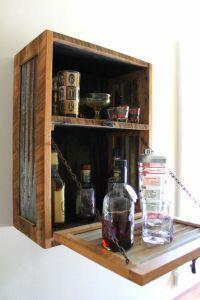 Rustic Hanging Liquor Cabinet - Murphy Bar - Wall Bar ...