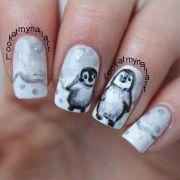 penguin nail art - cute hair
