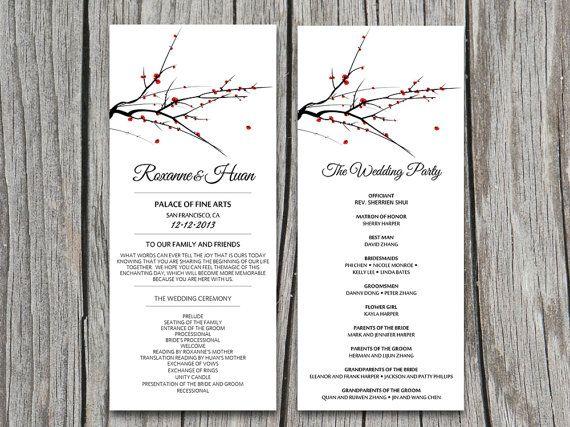 DIY Red Blooming Tree Branch Wedding Program Microsoft