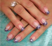 purple silver swirl tips nail art
