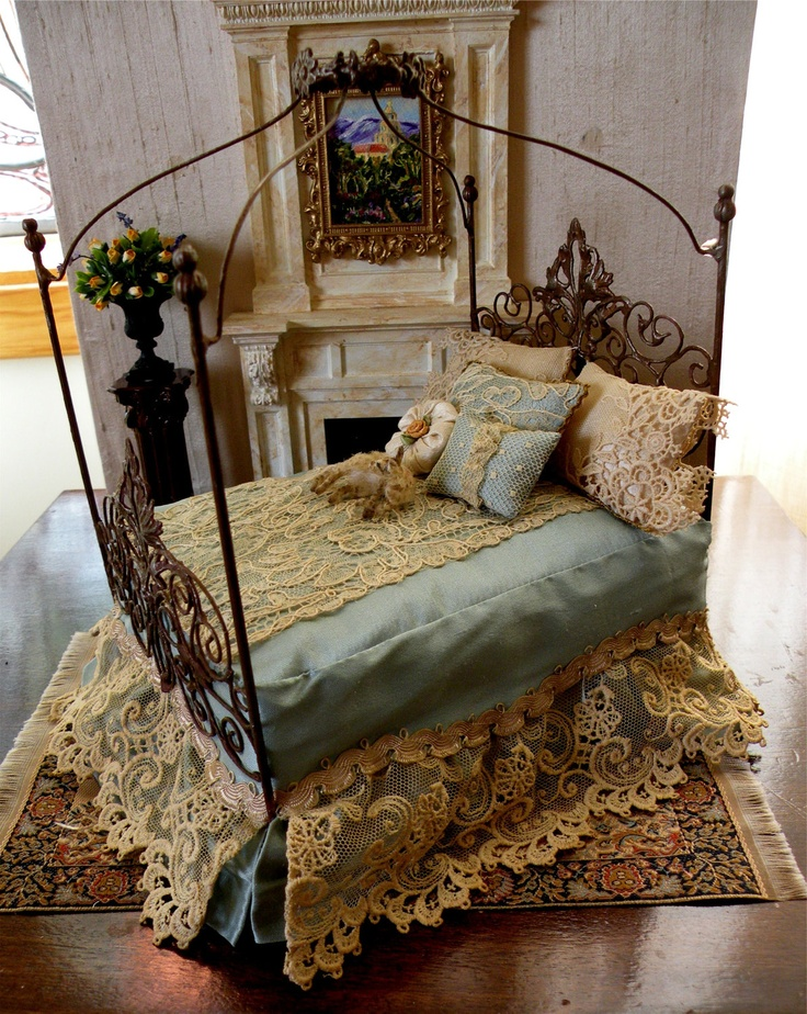 Dollhouse Miniature 1:12 Scale Artisan Dressed Wrought Iron Bed. $100.00, via Etsy.