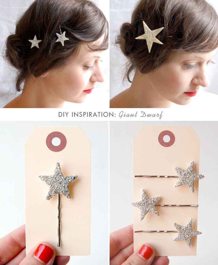 Sparkly star bobbie pin DIY  From a sweet little blog, Sprinkles in Springs  http://sprinklesinsprings.com/2012/12/diy-twinkle-star-bobby-pins.html#