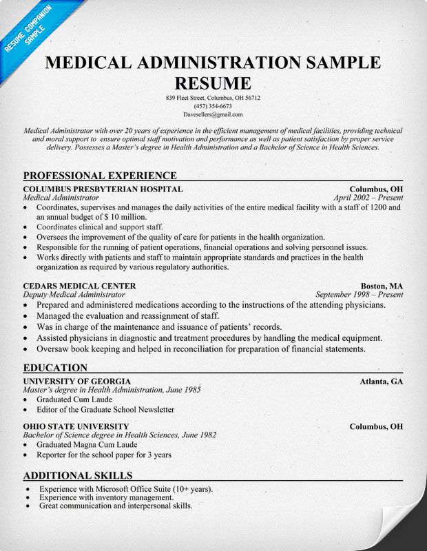 Medical Administration Resume  Career Tips  Pinterest