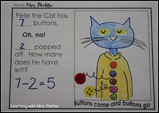 Subtraction - Free Pete the Cat and his Four Groovy Buttons activity!  My kids are already crazy for this book and they will love this activity!
