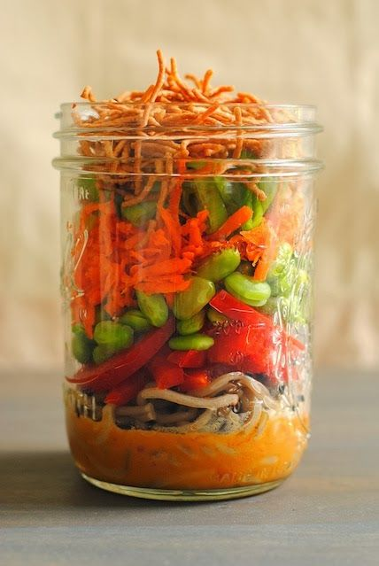 Asian Noodle Salad Jars  by foxeslovelemons: Portable, colorful and healthful lunch! #Salad $Asoan #Healthy #Jar