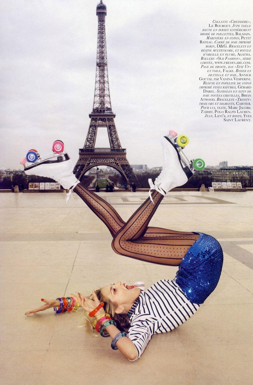 Vogue: sequins + roller skates + Eiffel Tower