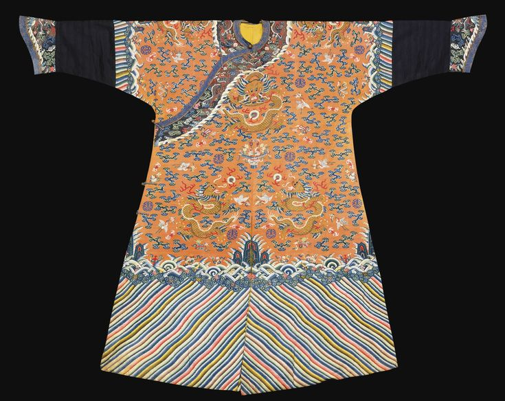 An Imperial apricot-yellow  kesi dragon robe (jifu), Qing dynasty, 19th century