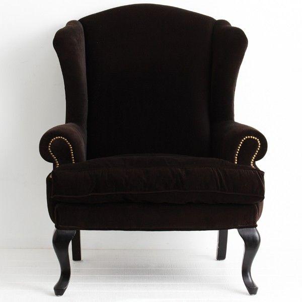 French Black Velvet Wingback Armchair  Home Ideas  Pinterest