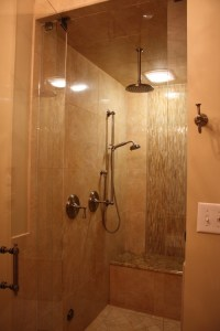 Small shower with bench | BATHROOMS | Pinterest