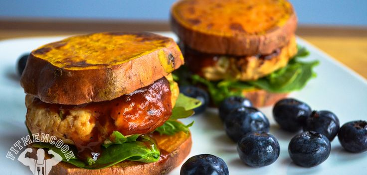 BBQ Turkey & Sweet Potato Sliders [sweet potato slices are the buns, love it!] via Fit Men Cook -- this is SERIOUSLY the most creative recipe blog for healthy eating