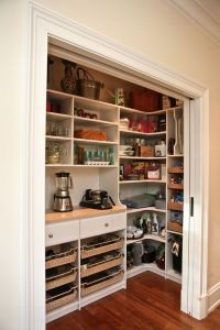 Pantry behind sliding doors