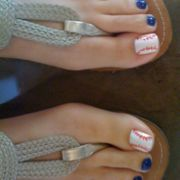 baseball mom toes- nail polish