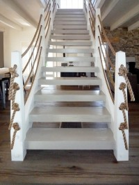 Rope stair rail | beach | Pinterest