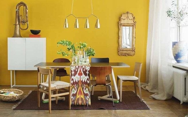 Mustard yellow accent wall  Dining Room  Pinterest
