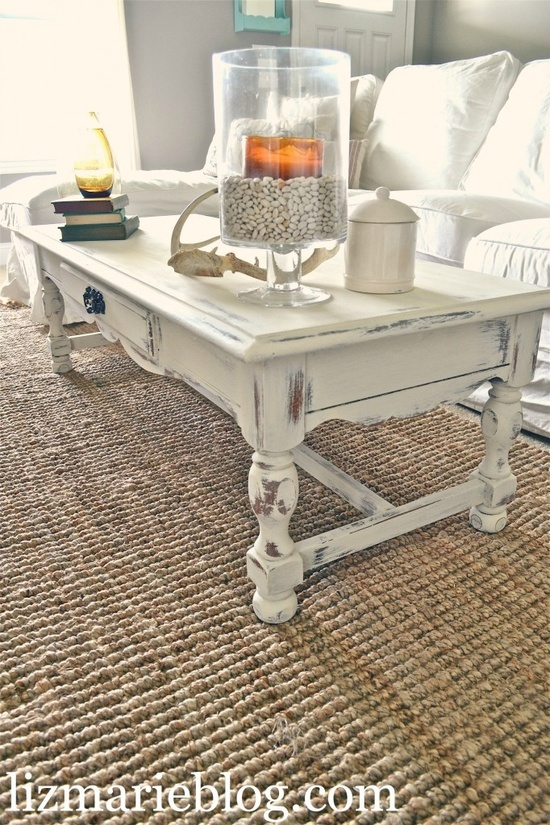 old white distressed coffee table