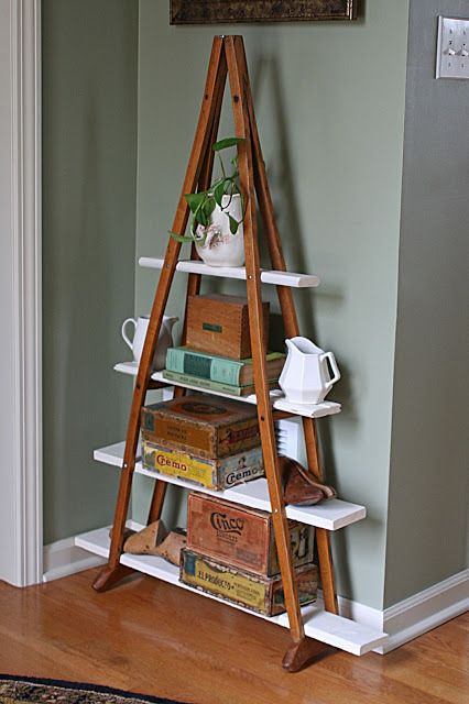 Shelves made from crutches