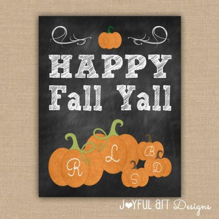 Pumpkin Family Chalkboard PRINTABLE Sign. Happy Fall Y'all. Customized Fall Decor. Family Name Wall Art. Fall Seasonal Sign. DIGITAL file.