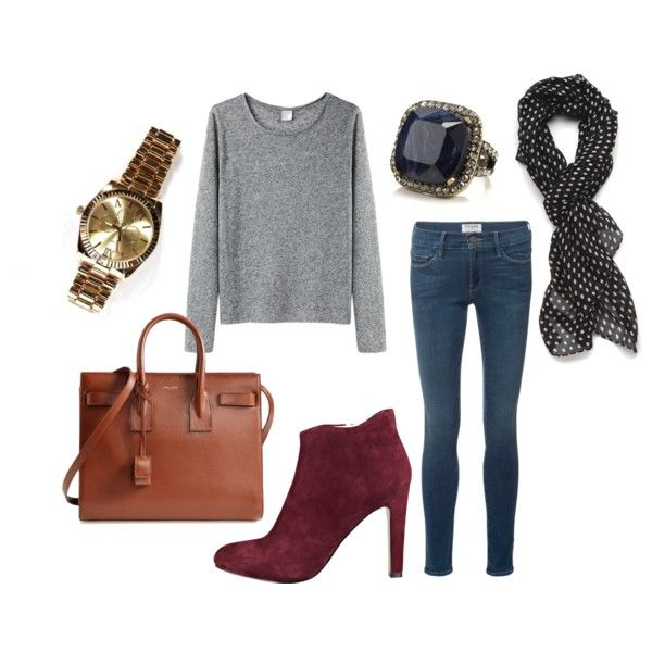 A fashion look from November 2014 featuring long sleeve tops, Frame Denim and high heel boots. Browse and shop related looks.